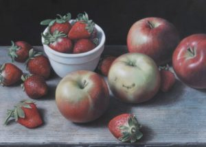 Doug Safranek, Apples and Strawberries, Egg tempera, 10½ x 14½ inches.